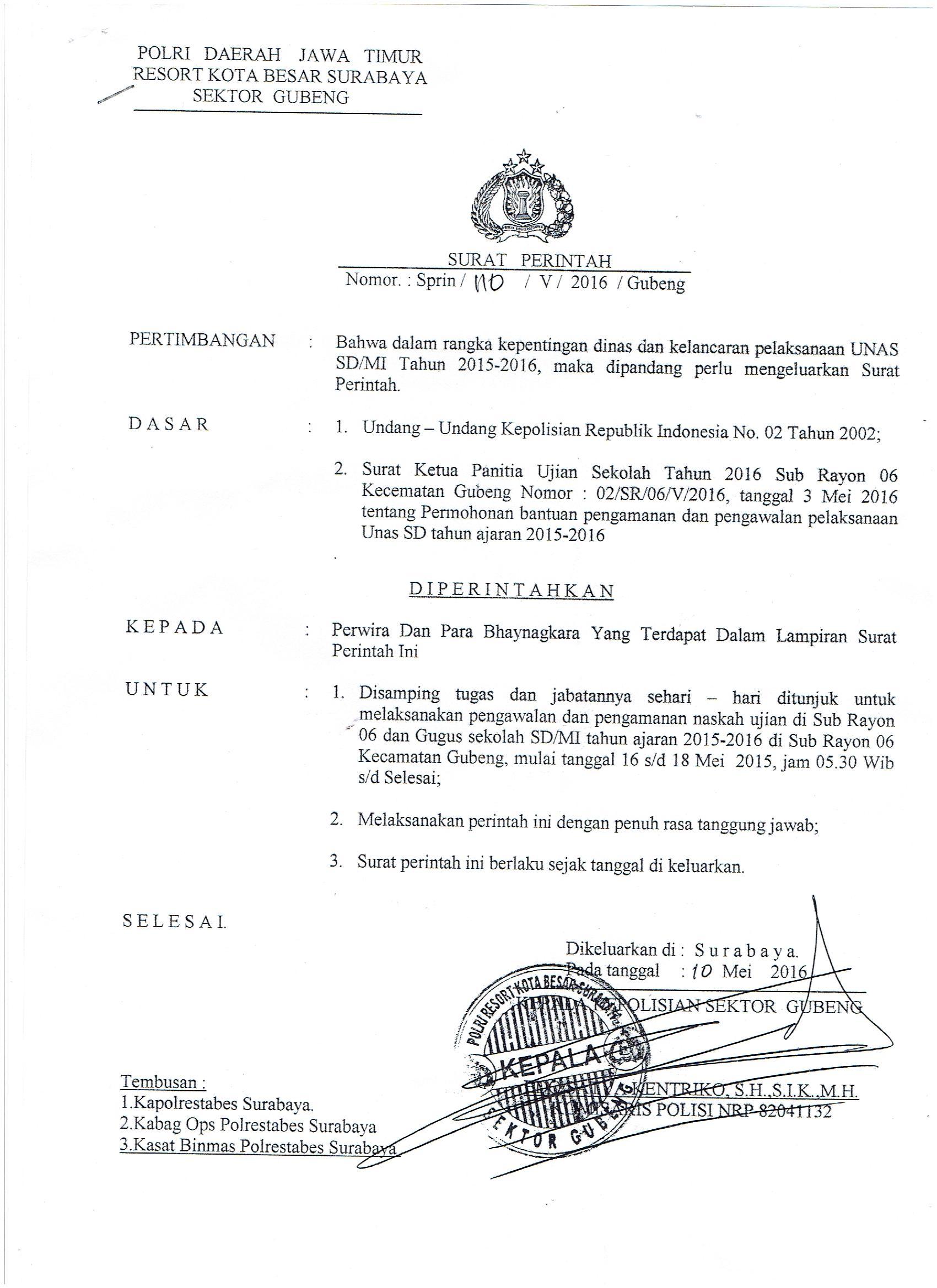 Surat Tugas Dapodik 001 Kelompok Kerja Kepala Sekolah Kecamatan Gubeng
